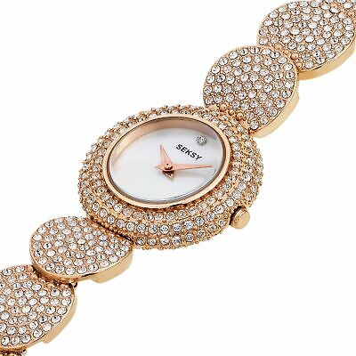 £79.99 • Buy Seksy Ladie's Gold Plated Stone Set Bracelet White Dial Analogue Watch