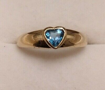 9ct Gold Ring With Heart Shaped Blue Topaz • 125£