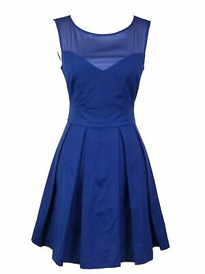 Warehouse Spotlight Blue Fit And Flare Tea Dress, Size 10 Party Summer Wedding • 20.99£