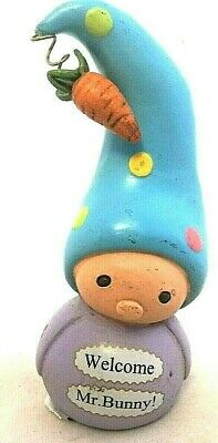 Bea's Wees-Enesco ' Welcome Mr Bunny'  Easter Small Gnome Ornament Figurine Gift • 5£