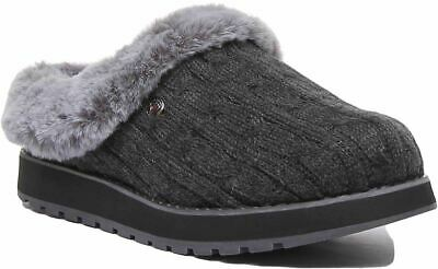 Skechers Bobs Sweater Knit Fabric Faux Fur Slipper In Charcoal Size Uk 3 - 8 • 39.99£