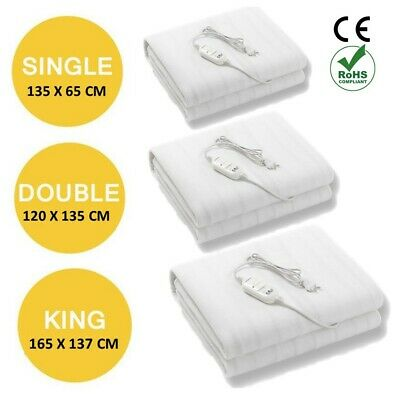 £15.95 • Buy Electric Heated Under Blanket Single Double King Washable 3 Heat Settings Rohs
