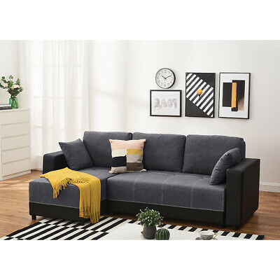 X-Large Universal Corner Sofa Bed With Storage Container Recliner Sleep Function • 399.99£