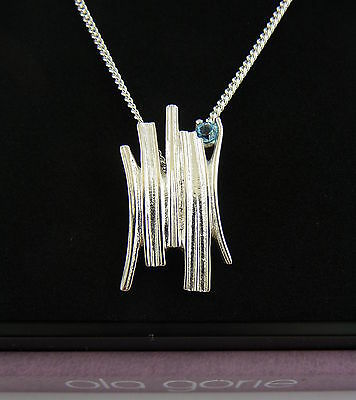 Ola Gorie Silver Pendant Blue Topaz 18  Chain Woodwick Scottish Boxed • 18.77£