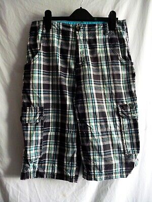 Fab Boys Checked Cargo Shorts Black/Turquoise/White Age 12/13 Yrs 152/158cms • 2.50£