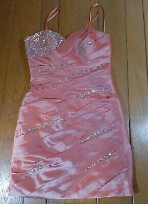 £86.92 • Buy Faviana Couture Pink Sorbet Embellished Layered Cocktail Prom Dress Teen Size 6