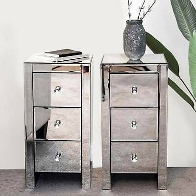£170.99 • Buy 2PCS Glass Mirrored Bedside Tables Crystal Bedroom Side Drawer Storage Cabinet