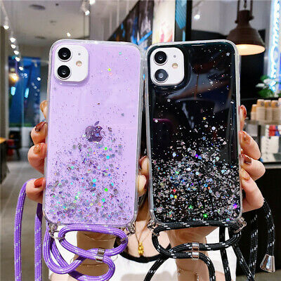 Bling Clear Soft Phone Case Cover With Lanyard Cord For IPhone 11 Xr 6s 7 8 Plus • 3.95£