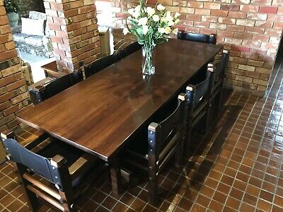 AU1999 • Buy Nore Vintage Dining Table With Sling Leather Chairs Designed By Norman Archibald