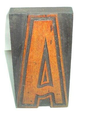 Wooden Letterpress Printing Block / Type,  Letter ' A ' 15 Cm High. C 1900.  • 14.99£