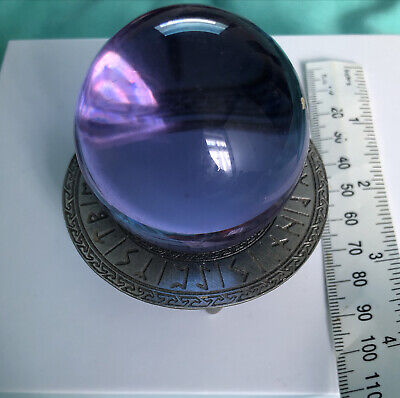 Amethyst Crystal Sphere Ball With Runic Stand • 15£