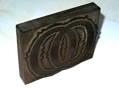 Wooden Letterpress Printing Block / Type,  Letter ' OO ' 10 Cm High. C 1900.  • 18.99£