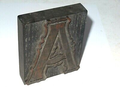 Wooden Letterpress Printing Block / Type,  Letter ' A ' 10 Cm High. C 1900.  • 18.99£