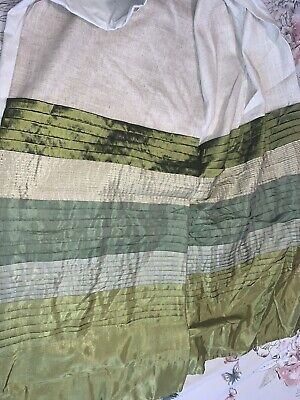 "Next Beige And Green Lined Curtains 66""x90""Glass Bead Tie Backs (Collection Only • 10£"