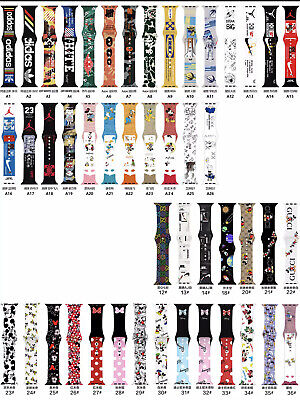 $ CDN26.66 • Buy Sport Band For Apple Watch Strap 44mm 40mm Series 3 4 5 Se 6 Pringting Silicone
