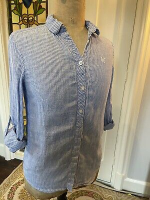 Crew Clothing Co Linen Relaxed Fit Ladies Blue And White Striped Shirt 8 • 1.50£