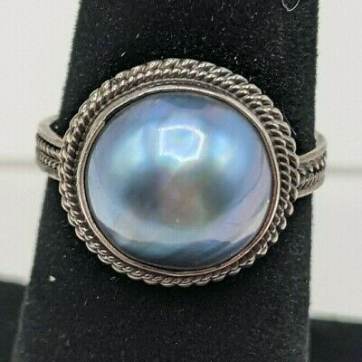 $36.99 • Buy Blue Mabe Pearl Ring Size 7.5 925 Sterling Silver