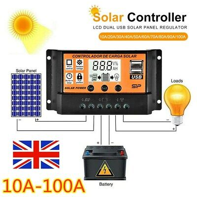 10-90A Solar Panel Battery Charge Controller 12V 24V LCD Regulator Auto Dual USB • 16.87£