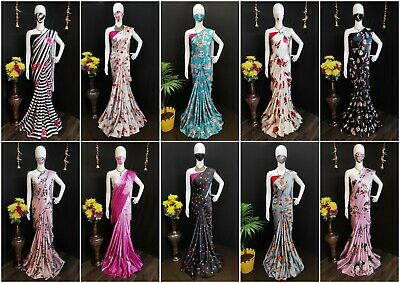 Designer Wear Saree Sari Party Wear Indian Blouse Bollywood Wedding Sari New  BK • 19.99£