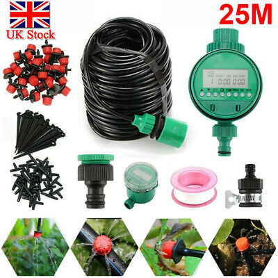 82ft Automatic Drip Irrigation System Kit Plant +Timer Self Watering Garden Hose • 14.19£