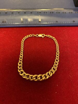 9ct Gold Graduated Curb Bracelet Beautiful Condition • 145£