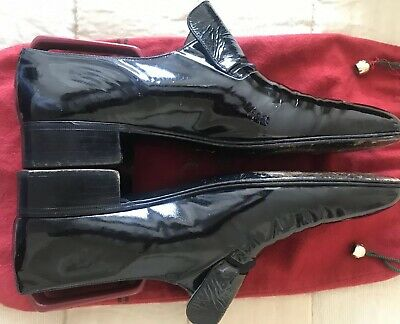 Mens MORESCHI Black Patent Leather Slip On Dress Shoes Size 7.5 Now ONLY £75.00 • 75£