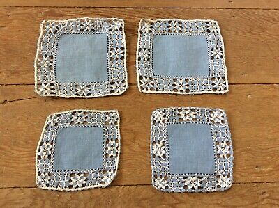 Vintage Blue Linen Dressing Table/tray/table Mats • 15.99£
