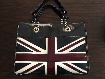 Aspinal Union Jack Tote Navy Italian Leather Aspinal Of London • 109£