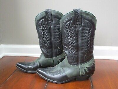 Womens Sancho Abarca Cowboy Boots Cowhide Leather Size 41 Narrow Black Green • 78.86£