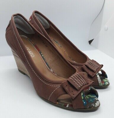 Staccato Brown Leather Peeptoe Wedge Shoes Size 5 UK 37 EU Floral Lining & Trim • 12.99£