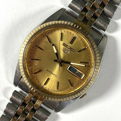 $ CDN48.28 • Buy 1980 Seiko 5 7009-A Two Tone Automatic Vintage Watch Gold Dial
