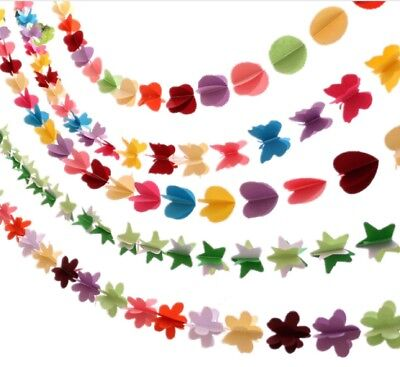 £2.99 • Buy 2m Paper Garland Bunting - Party Decoration -  Butterfly Flower Star Or Heart