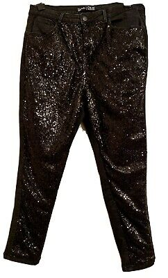 Simply Be  Black Chloe Front Sequin Skinny Jeans Size 18 Plus Size • 4.50£
