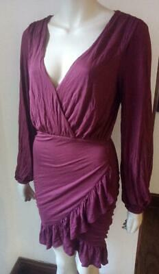 FREE PEOPLE FP BEACH Wrap Dress Burgundy Size XS New With Tag #23 • 25.90£