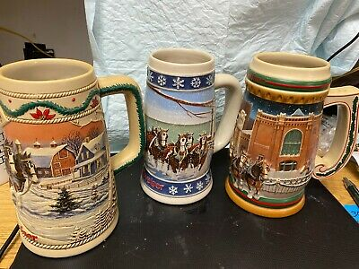 $ CDN44.51 • Buy Lot Of 3 Budweiser Steins-1995, 1996 And 1997..great Collector's Find!.....brab
