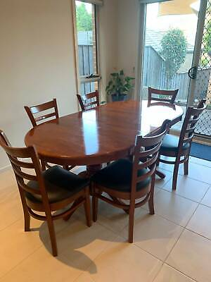 AU180 • Buy 6 Seater Dining Table With 6 Leather Chairs, 195cm X 100cm
