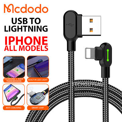 AU7.70 • Buy MCDODO Fast USB Cable Heavy Duty Charging Syn Charge For IPhone 90 Degree Gaming