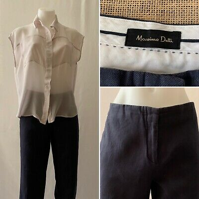 AU30 • Buy MASSIMO DUTTI Flat Front Linen Pant With Pockets In Navy Blue Size 10