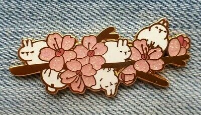 Rabbit Flowers Enamel Pin Badge Cute Animal Glitter  • 5.99£