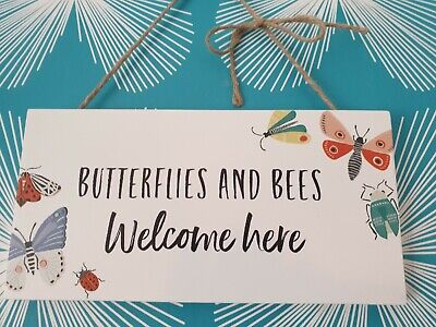 £3.50 • Buy Butterflies & Bees Live Here Hanging Sign For The Garden