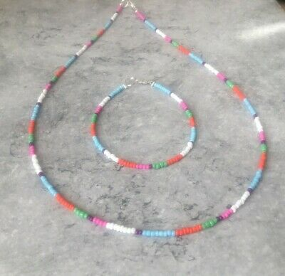 Native American Indian Style 2mm Glass Seed Bead Necklace 22  & Bracelet 8  • 6.50£