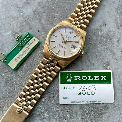 $ CDN10299.95 • Buy 1980 Vintage Rolex Date 1503 Mens 14K Yellow Gold Watch Champagne Dial Jubilee