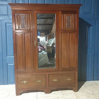 Large Antique Victorian Carved Mahogany Wardrobe With Mirrorand Drawers • 195£