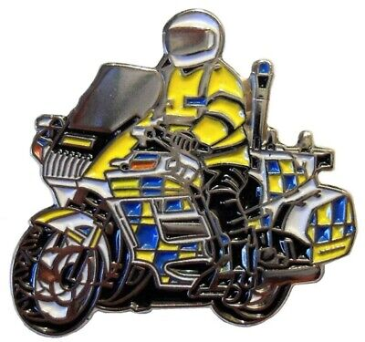 Police Motorcycle Motorbike Metal Enamel Pin Badge Blue Yellow • 2.75£