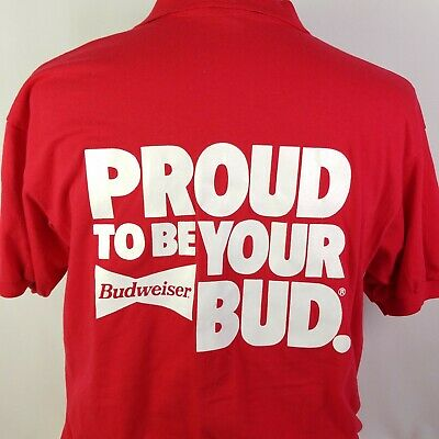 $ CDN48.52 • Buy Budweiser Beer Polo Shirt Proud To Be Your Bud Vintage 90s Mens XL Made In USA