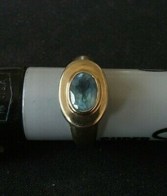 AU175 • Buy Real 9ct Gold With Light Blue Stone.Stamped 9k.Size O/7.5 Weight 3.92 Gram