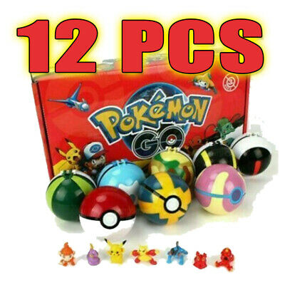 12Pcs Children Gift Kids Pokemon Ball Pokeball Toys Set GO Action Figures Xmas  • 9.29£