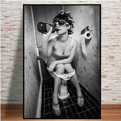 Sexy Women On The Toilet Smoking Picture Bar Home Wall Art Poster Canvas Print • 6.99£