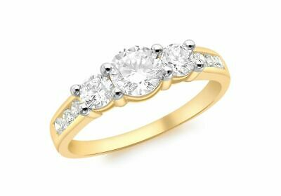 AU429.92 • Buy 9ct Yellow Gold Three Clear Stone And Channel Set Clear Stone Shoulder Ring