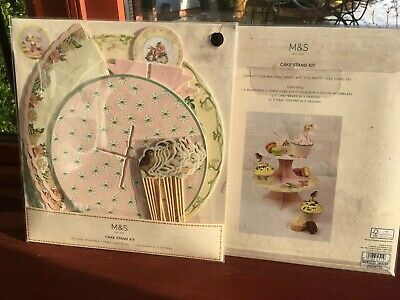 2 NEW M&S  2 TIER COUNTRY STYLE CAKE STAND KIT WITH WRAPS AND TOPPERS Rrp£25.00 • 12£